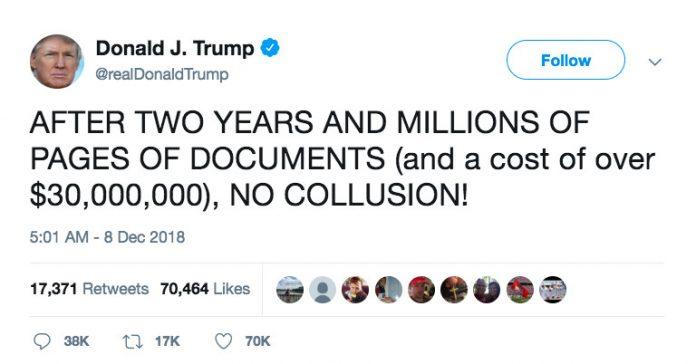 "Trump responds to Mueller's damning new filings: ""NO COLLUSION"""