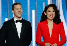 "Sandra Oh & Andy Samberg ""Slammed Everyone In Hollywood"" In Their Amazing Golden Globes Monologue"