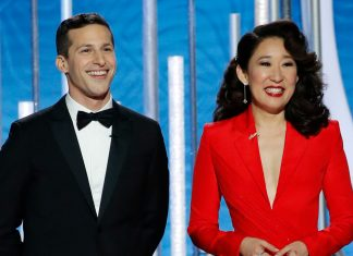 """Sandra Oh & Andy Samberg """"Slammed Everyone In Hollywood"""" In Their Amazing Golden Globes Monologue"""