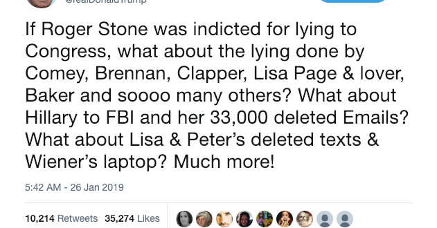Trump is peddling conspiracy theories to try and undercut Roger Stone's indictment