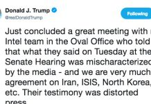 Trump just lied about what his intelligence officials said