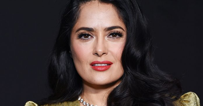 Salma Hayek Proudly Shows Off Her Natural Curls & Gray Hairs