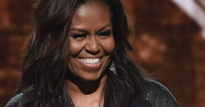 Michelle Obama Glittered On The Grammys Stage In A Sachin & Babi Jumpsuit