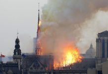 Notre Dame Cathedral, one of Paris's most iconic landmarks, is in flames