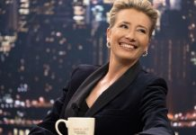 Emma Thompson's Late Night host wears suits,pussy bows, and jewelry from the Met