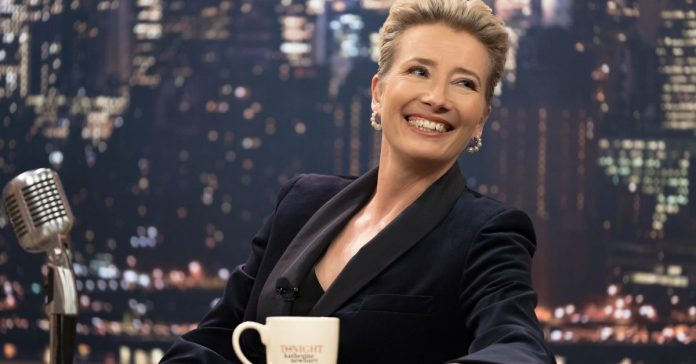 Emma Thompson's Late Night host wears suits, pussy bows, and jewelry from the Met
