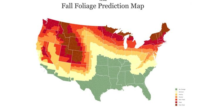 When and where fall foliage colors will peak, in one map