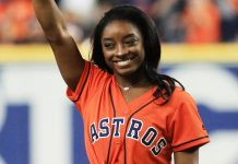 Simone Biles Throws Out The First Pitch — With A Twist — At The World Series