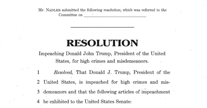 Read Democrats' articles of impeachment against President Trump