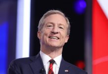 Who is Tom Steyer without his red plaid tie?