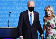 Jill Biden's Matching Floral Dress & Face Mask Was A Bright Spot During The Debate