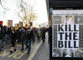 """""""10 years for protest, 5 years for rape"""": Demonstrators protest a policing bill in England and Wales"""